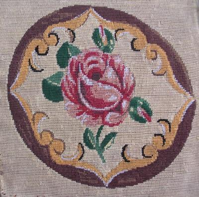 PREWORKED Needlepoint Canvas Bird PETIT POINT Cardinal on Dogwood Flowers vtg