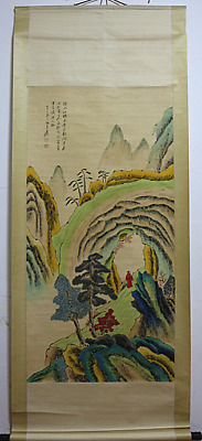 Excellent Chinese 100% Hand Painting & Scroll Landscape By Zhang Daqian 张大千 WXM9