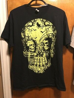 Mens Scary Halloween Glow In The Dark Skull T Shirt Colours New S Xxl