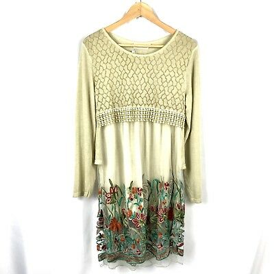 d317ad61ce9 Zulily Long Sleeve Sweater Dress Floral Embroidered Split Back Boho Size L