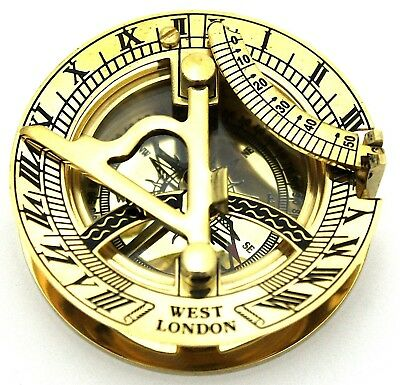 Solid Brass Sundial Compass - Sundial Pocket Polished Brass - West London - 50