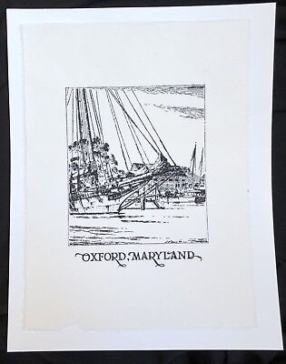 OXFORD Maryland PRINT on JAPANESE PAPER using c. 1930 Illustrated Block Type