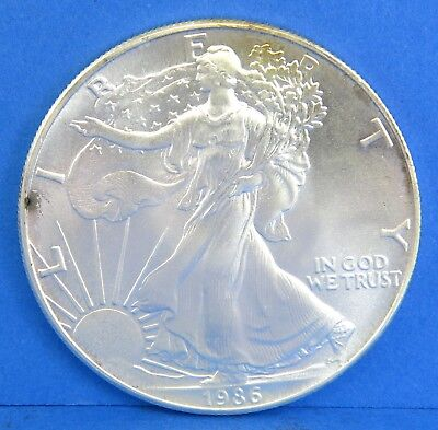 1986 $1 Silver Eagle Walking Liberty One Dollar Coin United States 1 Ounce Toned