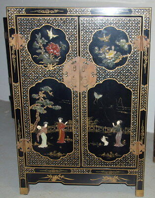 Vintage Oriental Chinese Chest Cabinet Black Lacquer with Mother of Pearl Inlay