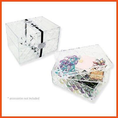6 x CLEAR ACRYLIC JEWELLERY BOX Display Cosmetic Organiser Makeup Holder Storage