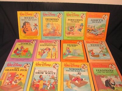 Vintage 1986 Walt Disney Fun to Read Book Set 1-19 Library HB Books Bantam L@@K