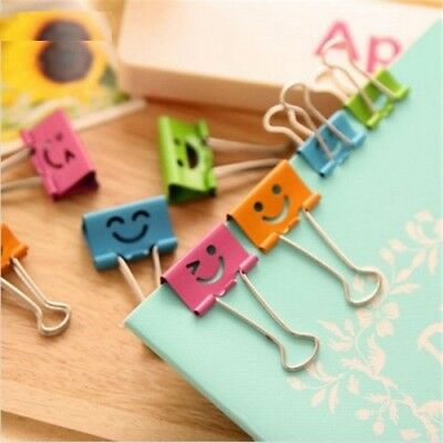 10 Pcs Smile Metal Binder Clips Home Office School File Paper Holder Organizer