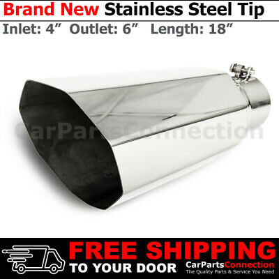 Stainless Truck Angled Polished 18 inch Bolt On Exhaust Tip 4 In 6 Out 202381