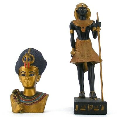 Egyptian King Tut Tomb Guardian Statue and Bust by Veronese - Set of 2 Figurines