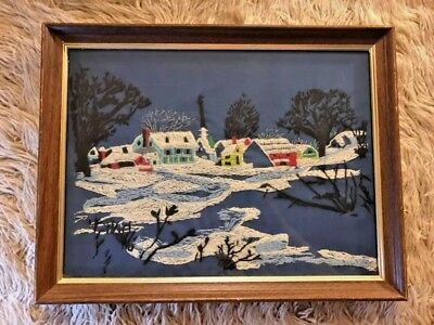 Vintage Country Snowscape Crewel Wool Embroidery Winter Avon 1975 Kitsch Scenery
