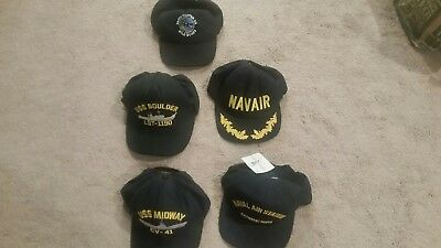 Vintage Lot Of 5 Military Snapback and Strap Caps Hats
