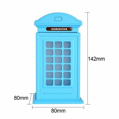 Mini Telephone Booth Air Humidifier Cleaner 300ml USB LED Diffuser MW$