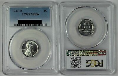 1943-D BU Steel Lincoln Wheat Cent Penny PCGS MS66 1c Unc Coin US