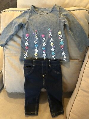 FIRST IMPRESSIONS Infant Girl Outfit 6-9 Months Long-sleeved, Jeggings, Flowers