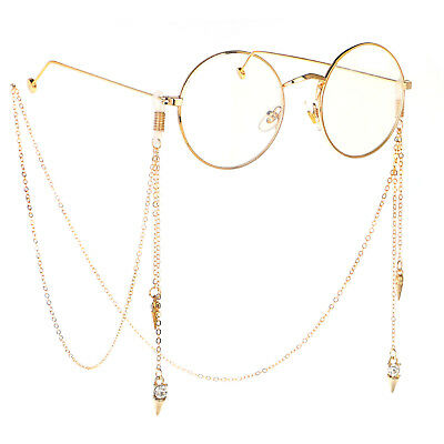 Crystal Gold Eyeglass Cord Reading Glasses Eyewear Spectacles Chain Holder GL148