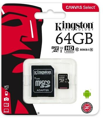 Kingston CANVAS Select Micro SDXC 64GB Class10 UHS-I Memory with SD Adapter