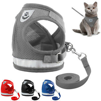 Pet Cat Walking Harness and Lead Adjustable Reflective Strap Vest for Small Dog
