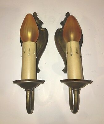 Antique Vintage Brass Wired Wall Sconce Pair Electric Candle Wall Fixtures 35D