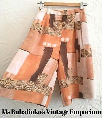 Vintage 90s Peach Patterned Culottes Shorts Size 6 XS High Waist Wide Legs Boho