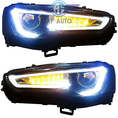 For 2008-2017 Mitsubishi Lancer EVO LED DRL Head Lights Headlamp Audi A5 Style