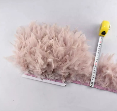 Dusty Pink Turkey Feather Fringe Ribbon Trim Price for 30cm DIY Craft Sewing