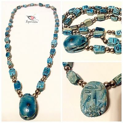 Vintage Scarab Egyptian Carved Beaded Necklace Blue Enameled Beautiful