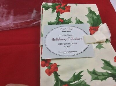 Christmas Cloth Hollyberry Napkins Set of four - 20 X 20
