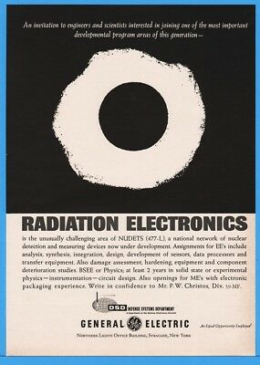 1962 General Electric GE Radiation Electronics Career Opportunity Nuclear Ad