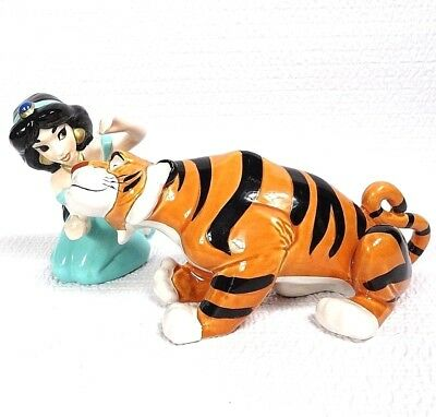 Disney Schmid Ceramic Figurine Pair Princess JASMINE RAJAH Pet Tiger Aladdin