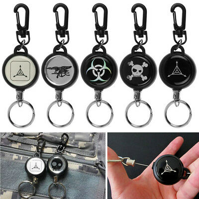 Heavy Duty Retractable Steel Reel Recoil Chain ID Holder Badge Key Ring Men