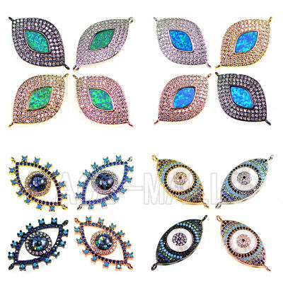 Top Zircon Micro Pave Evil Eye Gemstones Lucky Bracelet Connector Charm Beads
