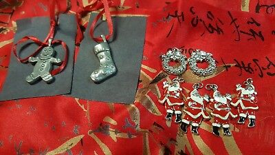 Lot Of 8 Christmas Holiday Charms Or Pendants 1 Pewter Gingerbread Man Marked Jv