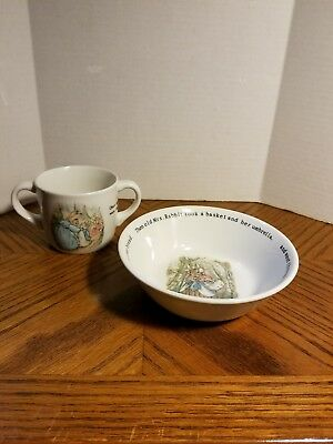 Wedgwood PETER RABBIT Children's Dishes Bowl Double Handle Mug Warne & Co 1991