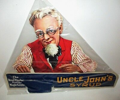 1930s Store Counter Display Uncle John's Syrup Maple Grove Die Cut Ad Sign