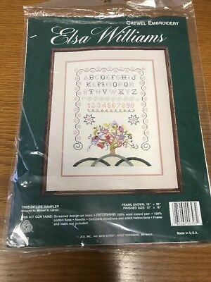 New Elsa Williams Tree Of Life Sampler Crewel Embroidery Kit JCA Sealed 00393