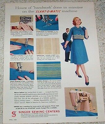 1960 print ad page - Singer sewing machines Vintage fashion lady ADVERTISING