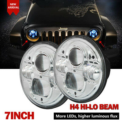Pair 7inch High-Low Beam Round 4x4 DRL H4 Headlights Offroad LED Driving Light
