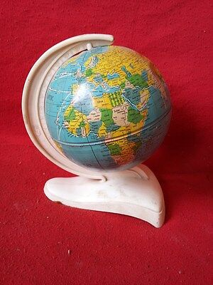 Vintage Old Iron Mini Earth Globe plastic Stand made in  Western Germany #349