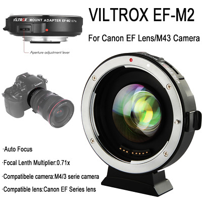 Viltrox EF-M2 Focal Auto Focus Lens Mount Adapter 0.71x for Canon EF to M43  cam