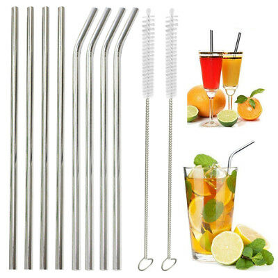 8x Stainless Steel Metal Drinking Straw Straws Bent Reusable Washable +2 Brushes