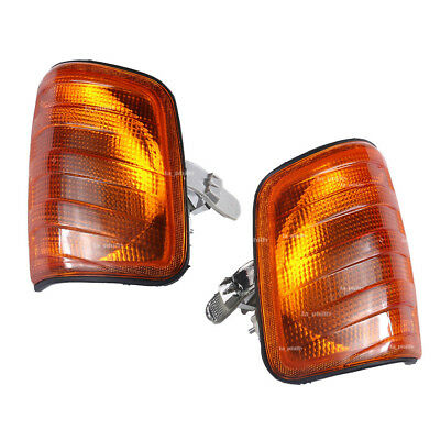 Pair L+R Amber Corner Lights Turn Signal For Mercedes W124 E-Class Sedan 1985-95