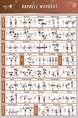 Barbell Workout Exercise Poster BodyBuilding Guide Fitness Gym Chart