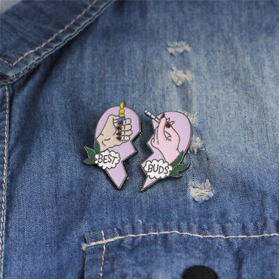 2PCS/Set BEST BUDS Enamel Brooches Pins Friends Gift Badges Heart Pin Jewelry  I