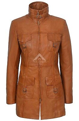 Ladies Leather Jacket Tan Gothic Style Fitted REAL LAMBSKIN COAT 1310