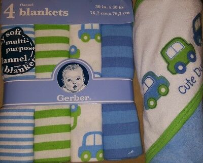 Gerber Baby Boys' 4 Pack Flannel Blankets and Hooded towel Blue Cars Gift set