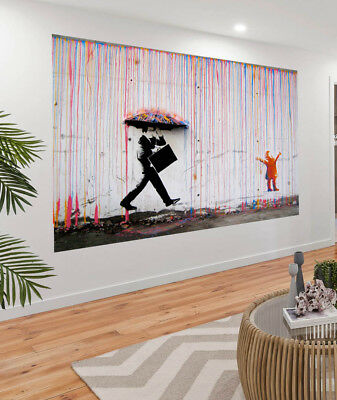 Painting Graffiti Street Art Banksy norway rainbow rain Print Canvas Australia