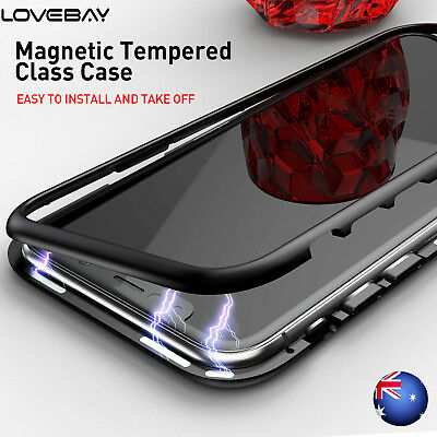 360° Protector For iPhone X 7 8 6+ Hybrid Magnet PC Bumper Glass Back Case Cover