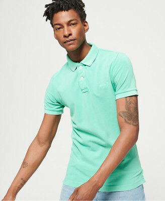 Neues Herren Superdry  Vintage Destroyed Polohemd aus Pikee Awesome Mint