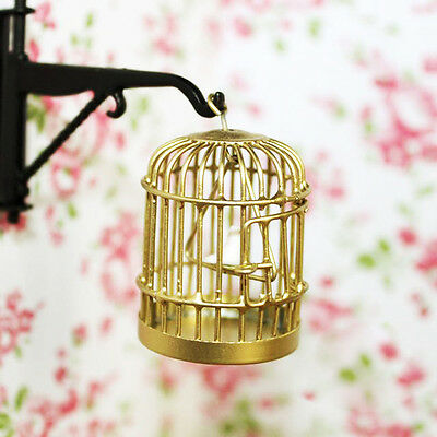 Doll House Miniature Gold Metal Birdcage Bird On Swing Fairy Garden Cage 1:12~-