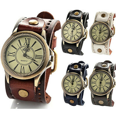 BN Vintage Mens Women Steampunk Watches Big Wide Leather Wristband Strap~-